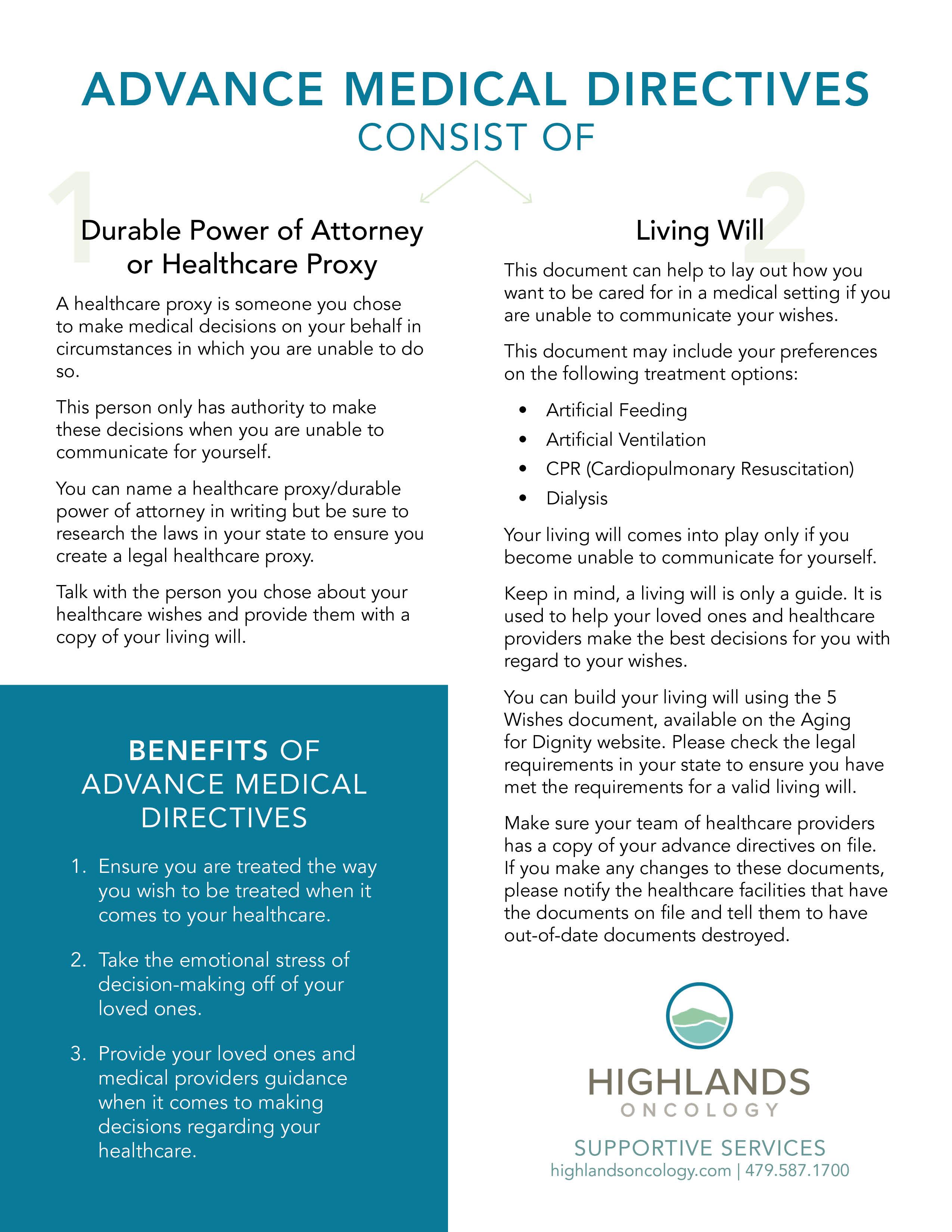 Advanced Medical Directives Information Sheet